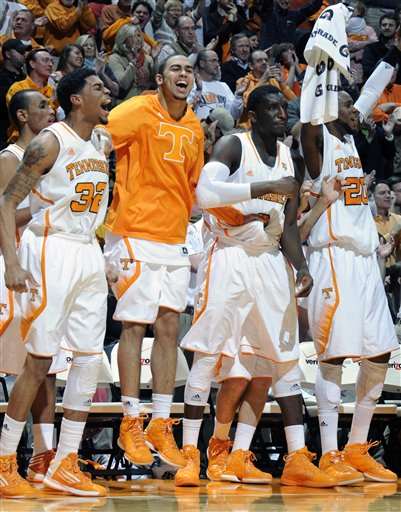 Tennessee celebrates against Alabama